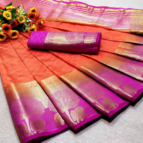 Classic Orange Colour Kanjivaram Silk In Saree And Contrast Blouse For Women