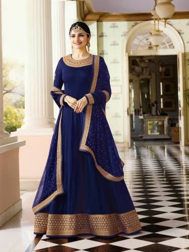 blue color georgette embroidered semi stiched party wear anarkali salwar suit
