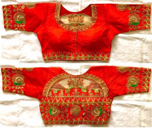 Red Colour Malbari Silk With Zari Hand Stone Work Full Stitched Blouse For Wedding