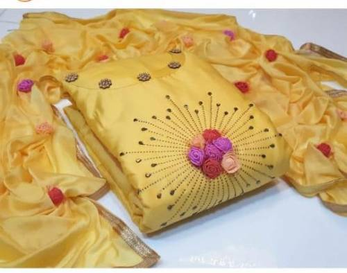 Yellow Cotton Hand Work With Pump Pump Suit For Wedding Wear