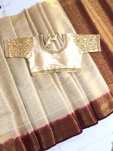 Cream Colored Nylon Silk With All Over Zari Design Saree And Full Stitched Blouse For Women-VT3062106D