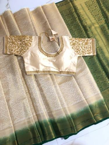 Cream & Green Nylon Silk With All Over Zari Design Saree And Banglori Silk Ready Made Blouse-VT3062106F