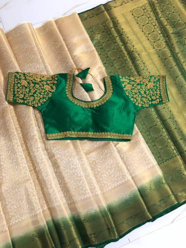 Dark Green & Cream Nylon Silk With All Over Zari Design Saree And Designer Banglori Silk Full Stitched Blouse For Wedding Wear-VT3062106G