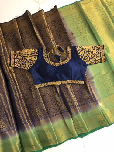 Blue & Green Nylon Silk Designer All Over Zari Design Saree And Beautiful Full Stitched Banglori Silk Blouse For Wedding Wear-VT3062106O