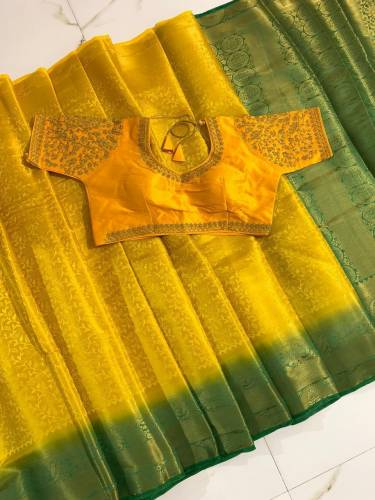 Demanding Yellow Colored Nylon Silk With All Over Zari Design Saree And Designer Banglori Silk Ready Made Blouse For Women-VT3062106P