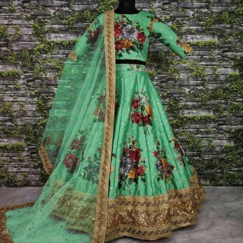 Attractive Sea Green Digital Print Satin Silk With Embroidered Work Lehenga Choli-VT1159DVD9034G