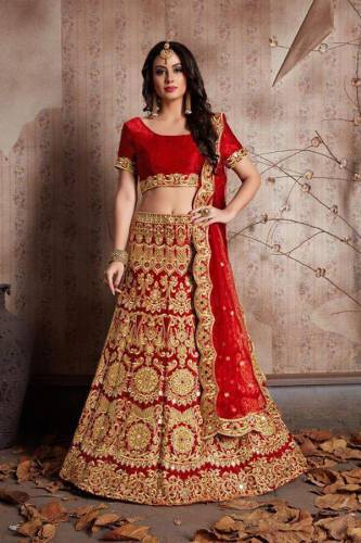 Attractive Red Colour Velvet Silk With Embroidered Lehenga Choli For Function Wear