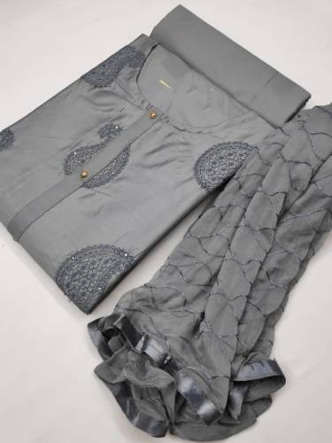 Classic Grey Colour Pure Cotton With Nazmin Work Dupatta Salwar Suit For Women