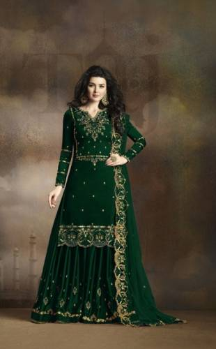 Attractive Dark Green Colored Rangoli Georgette With Heavy Embroidered Work Salwar Suit For Party Wear-VT3021101E