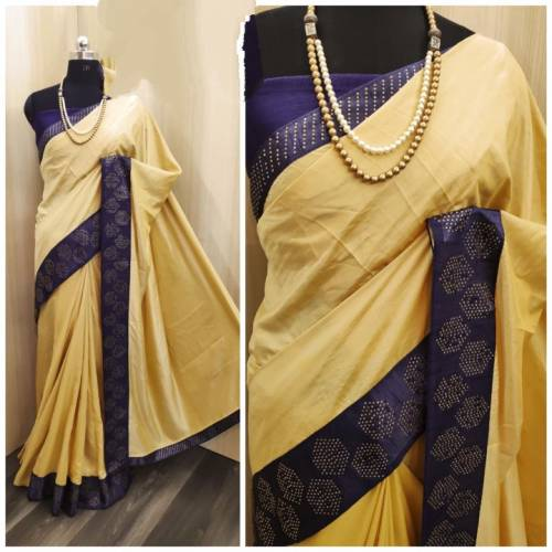 Jazzy Yellow Colored Sana Silk With Machine Stone Diamond Work Saree And Banglori Silk Diamond Work Blouse-VT3022109E