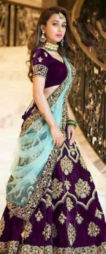 Fantastic Wine Colored Tapeta Velvet With Heavy Embroidered Work Beautiful Lehenga Choli For Wedding Wear-VT1159DVD9091C