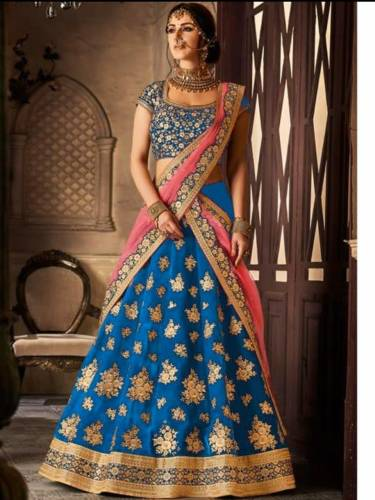 Attractive Blue Colored Velvet Silk With Designer Embroidered Work Lehenga Choli For Wedding Wear-VT1159DVD9044A