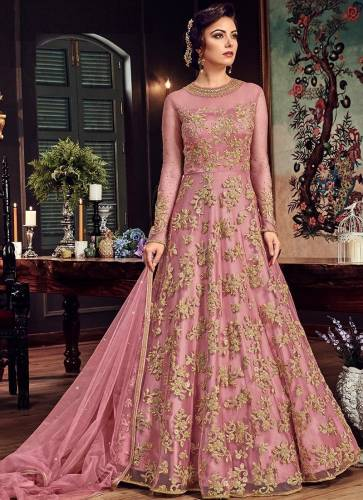 Design wear Heavy Butterfly Net with Embroidery Long gown type Anarkali Suit for women