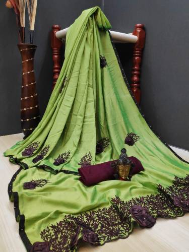 Attractive Green Colored Malay Silk With Heavy Embroidered Thread Diamond Work Saree And Beautiful Banglori Silk Blouse For Wedding Wear-VT3151110A
