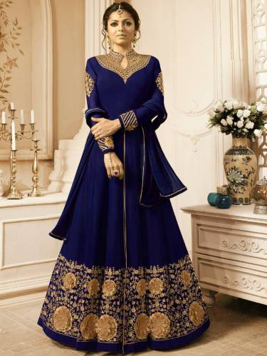 Demanding Royal Blue Colored Faux Georgette With Heavy Embroidered Work Designer Salwar Suit For Women-VT3048107D