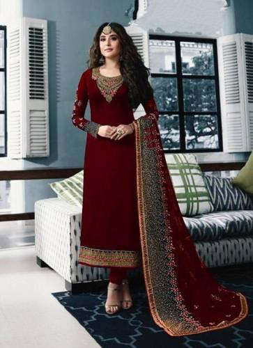 Radiant Red Colored Georgette With Embroidered Thread Stone Work Salwar Suit For Function Wear-VT3048108A