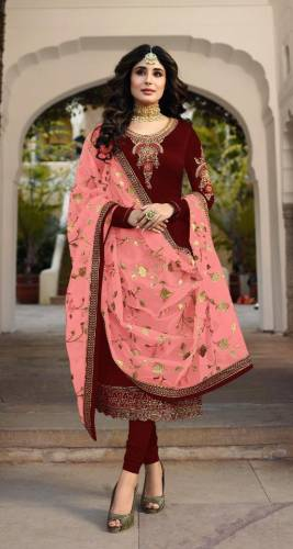 Attractive Red Colored Heavy Satin Georgette With Embroidered Stone Work Salwar Suit For Function Wear-VT3048111E