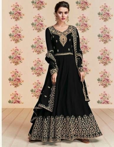 Capricious Black Colored Designer Georgette With Codding Stone Work Anarkali Salwar Suit For Wedding Wear-VT3048115A