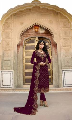 Black Colour Faux Georgette Embroidered Stone Work Salwar Suit