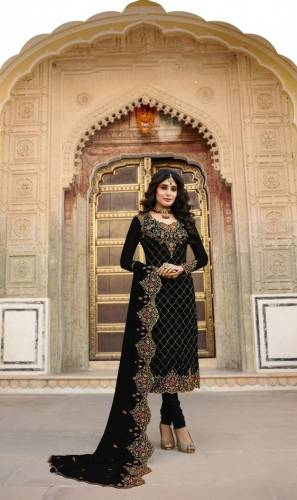 Blooming Black Colored Heavy Faux Georgette With Designer Embroidered Stone Work Party Wear Salwar Suit-VT3048116E