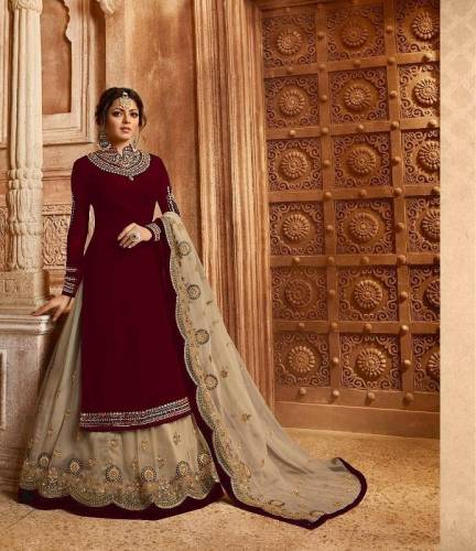 Arresting Red Colored Faux Georgette With Heavy Embroidered Stone Work Semi Stitched Salwar Suit For Wedding Wear-VT3048117B