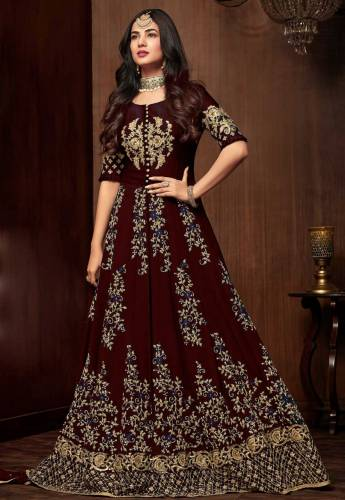 Amazing Maroon Colored Faux Georgette With Embroidered Codding Stone Work Semi Stitched Anarkali Dress For Party Wear-VT3048118A