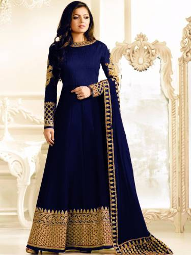 Amazing Royal Blue Colored Heavy Banglori Silk With Stone Work Semi Stitched Designer Party Wear Salwar Suit-VT3048119B