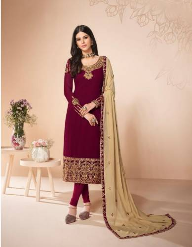 Party Wear Pink Colour Georgette Salwar For Wedding Wear