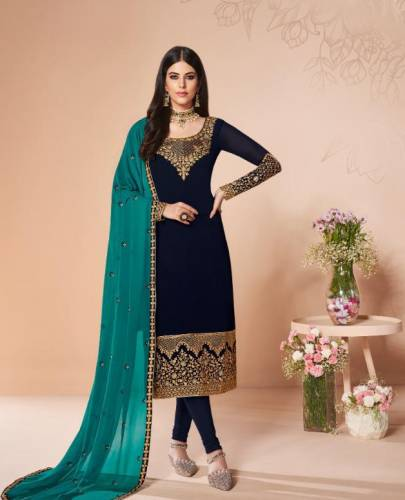 Party Wear Navy Blue Colour Georgette Salwar Suit Design Online