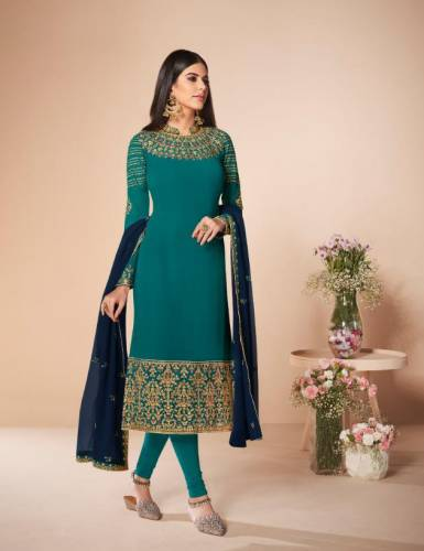 Rama Blue Colour Georgette Chain Stitch Stone Work Salwar Suit