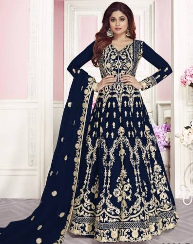 Delightful Navy Blue Colored Heavy Net With Chain Stitch Stone Work Semi Stitched Salwar Suit For Women-VTSRITEX104F