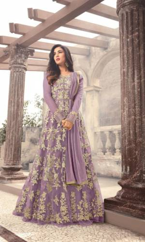 Amazing Light Purple Colored Heavy Net With Heavy Embroidered Stone Work Semi Stitched Salwar Suit For Function Wear-VTSRITEX105C