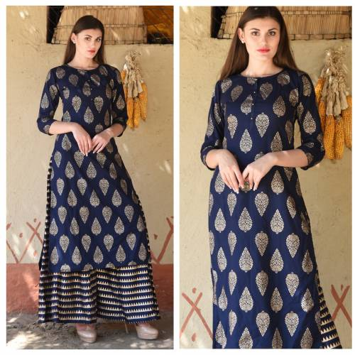 Blue Colour Rayon Printed Ready made Kurta With Plazo For Woman
