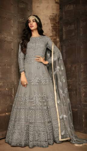 Amazing Grey Colored Heavy Net With Beautiful Embroidered Work Anarkali Designer Party Wear Salwar Suit-VTSRITEX106F