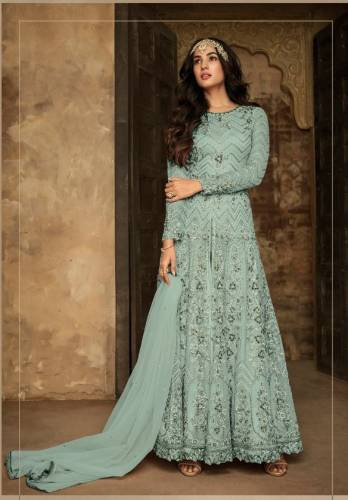 New Blue Colour Net Aplic Embroidered Stone Work Salwar Suit For Party Wear