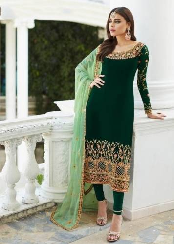 Amazing Green Colored Faux Georgette With Designer Embroidered Work Semi Stitched Party Wear Salwar Suit-SHIV105A