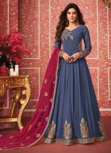 Blue & Pink Colored Faux Georgette With Designer Embroidered Work Anarkali Salwar Suit For  Wedding Wear-SHIV107A
