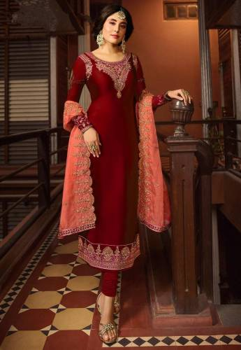 Graceful Red Colour Satin Georgette Embroidered Suit For Wedding Wear