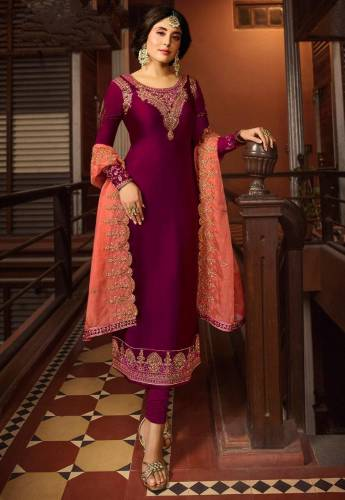 Dark Pink Colour Satin Georgette Embroidered Work Wedding Wear Salwar Suit