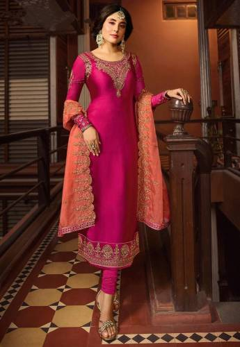 Pink Colour Satin Georgette Embroidered Work Salwar Suit For Party Wear