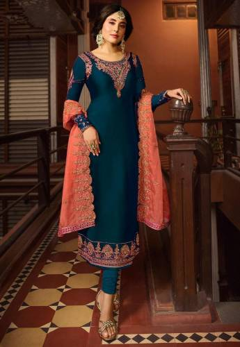Rama Blue Colour Designer Satin Georgette Salwar Suit For Function Wear
