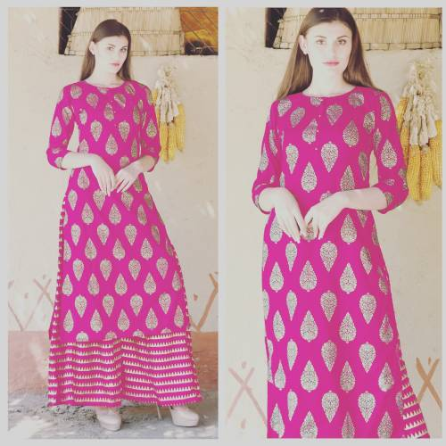 Brilliant Pink Color Rayon Printed Readymade Kurta With Plazo For Woman