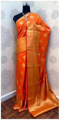 Amazing Orange Colored Banarasi Handloom Weaving Silk Saree With Big Heavy Zari Border And Rich And Contrast Pallu Full Weaving Zari Brocket Saree And  All Over Zari Butta Blouse Wedding Wear -VT3062114A