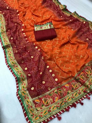 Buy Maroon & Orange Pure Heavy Georgette Soft Fancy Bandhani Print Mill Foil Work In Some Saree And Banglori Silk Blouse For Function