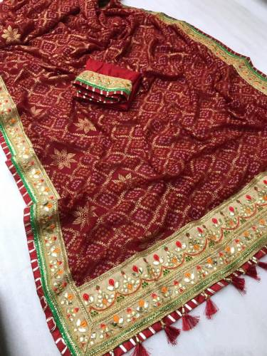Buy Maroon Pure Soft Georgette Bandhani Print Mill Foil Work Saree And Banglori Silk Blouse For Wedding Wear-VT621109D
