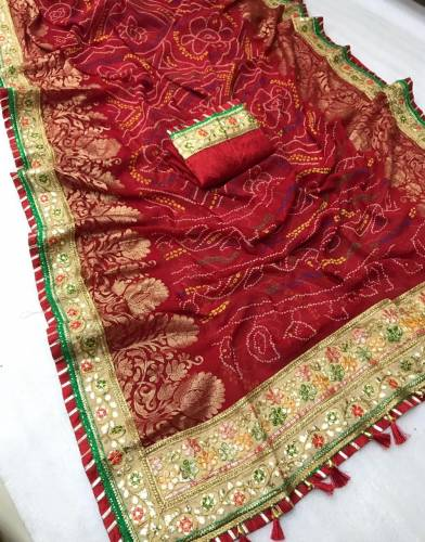 Buy Red Pure Georgette Designer Bandhani Print Mill Foil Work Saree And Banglori Silk Blouse For Women-VT621109E