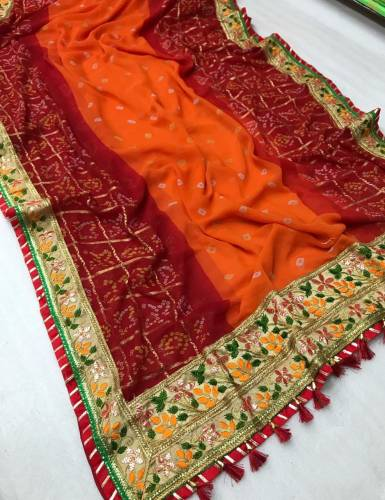 Buy Red & Orange Georgette Soft Bandhani With Print Mill Foil Work Saree And Banglori Silk Blouse-VT621109G
