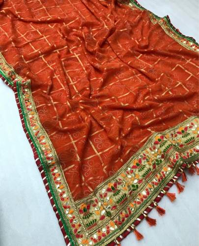 Buy Orange Georgette Soft Bandhdni With Print Mill Foil Work Saree And Banglori Silk Blouse For Wedding Wear-VT621109H-