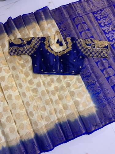 Cream & Purple Nylon Silk With Rich Pallu Saree And Heavy Banglori Silk Ready Made Blouse-VT3062116B