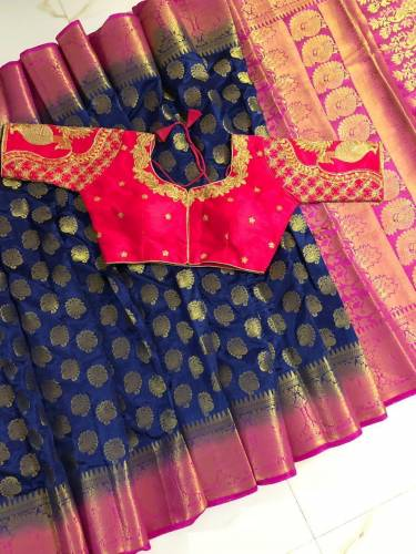 Blue & Pink Nylon Silk With Rich Pallu Saree And Designer Ready Made Banglori Silk Blouse For Wedding Wear-VT3062116C